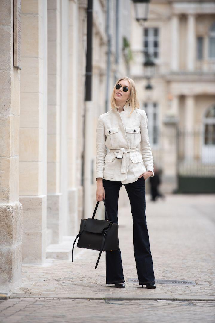 Mango beige linen blazer and Céline belt bag + flared jeans