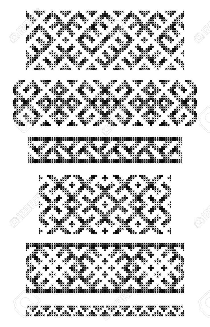 ensemble de frontières sans soudure géométriques, croix broderie