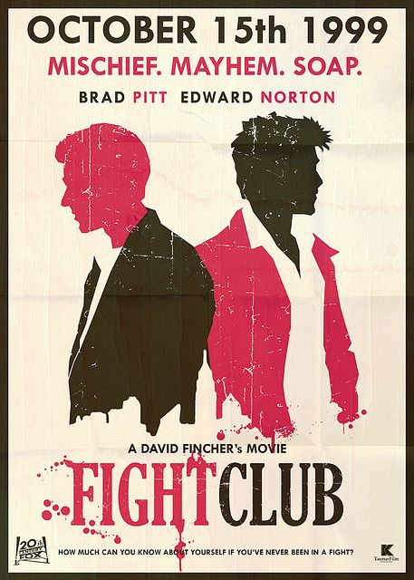 Fight Club- wacky book brought to the screen with super hot Brad Pitt in a blue ladies bathrobe.