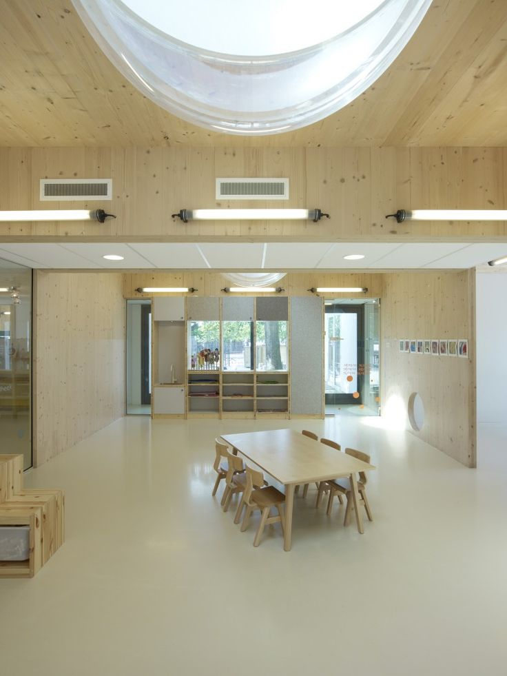 Hestia Day-Care Centre | NEXT Architects & Claudia Linders. Wood, skylights and custom storage and furniture