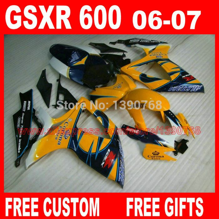 Fairings set for 2006 2007 SUZUKI GSXR600 GSXR 750 06 07 orange blue Corona fairing kit gsxr600 gsxr750 K6 K7 Q762 #Affiliate