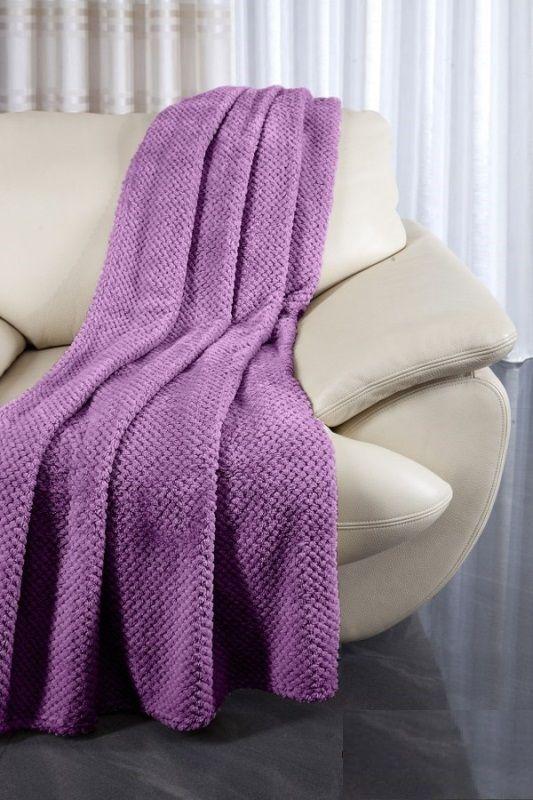 Fioletowe narzuty na wersalkę i fotel