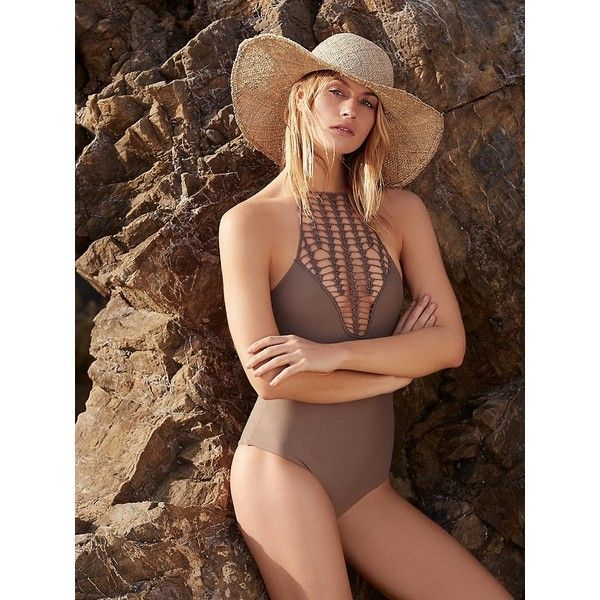 Teahupo's Full Piece Swimsuit (130 CAD) ❤ liked on Polyvore featuring swimwear, one-piece swimsuits, high neck one piece bathing suit, 1 piece swimsuit, halter top and high neck one piece swimsuit