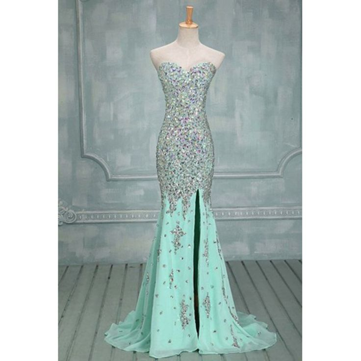 Gorgeous Long Prom Dresses Sweetheart Beaded Mint Mermaid Prom Dress With Crystals Chiffon Zipper Prom Gown with Side Split