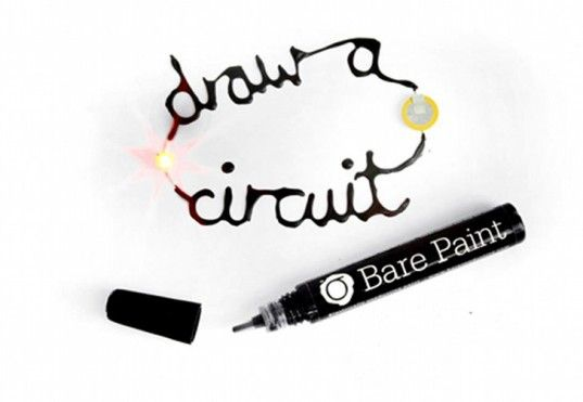 Bare Conductive: Electrically conductive, non-toxic paint pens and kits. Draw your circuits!! http://www.bareconductive.com/