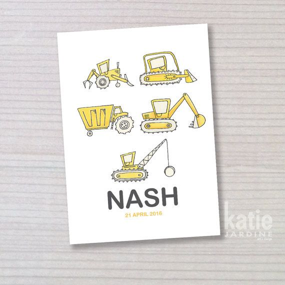 Dump trucks - boy name print - diggers - childrens wall art - nursery art on Etsy, $25.00 AUD