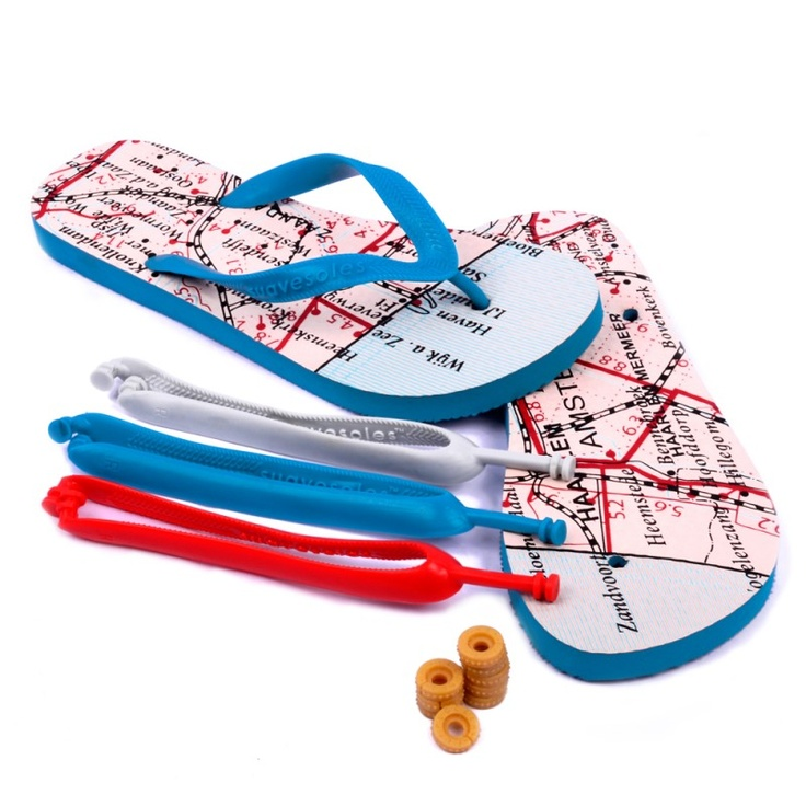 Suavesoles Amsterdam flip flops : Maps on flip flops