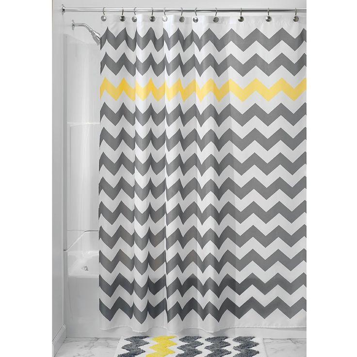 Rideau de douche rayé gris & jaune  Découvrez 21 rideaux de douches originaux >> http://www.homelisty.com/21-rideaux-de-douches-pour-votre-salle-de-bains-chic-classique-original/