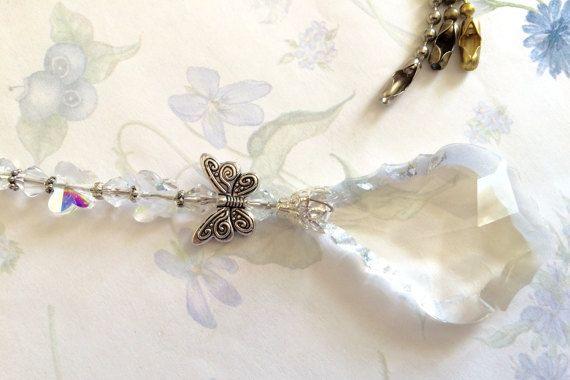 light pull ceiling fan pull crystal butterfly by JessicasJewles