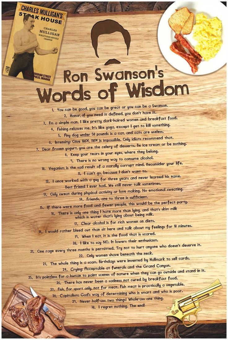 """- 36"""" x 24"""" poster with vivid colors - 30 of Parks and Recreations' best Swanson'isms. - Poster is printed on 80lb high quality paper stock with satin cover, glossy finish. - Exclusively available fro"""