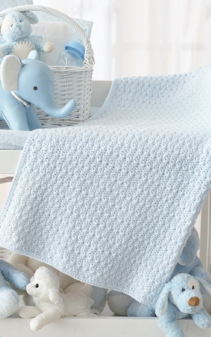 Textured Crochet Blanket, free pattern by Susan Ripley on Craft Foxes.  Worked in a shell pattern of chains, SC, & DC stitches, this baby blanket has a cabled look but is easy enough for a beginner.    . . . ღTrish W ~ http://www.pinterest.com/trishw/  . . .   #crochet #afghan #throw