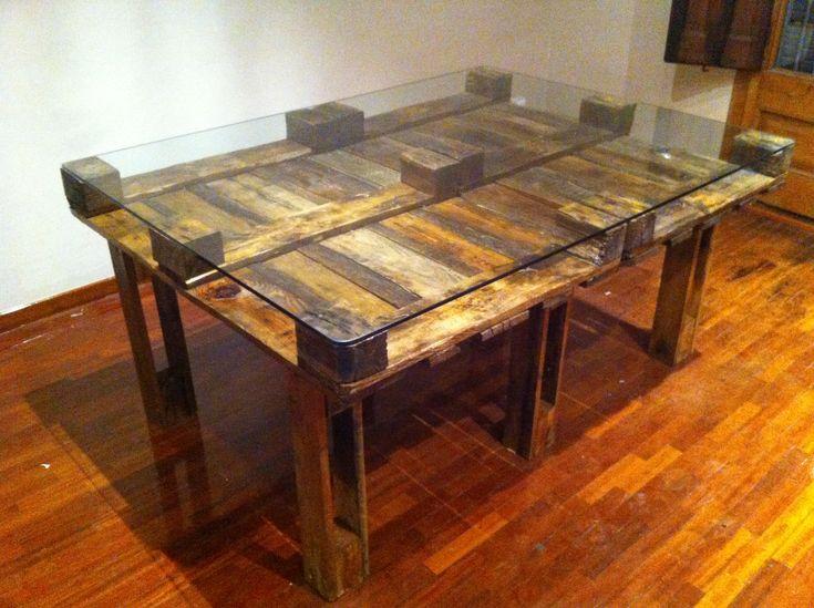 Mesa de comedor con palets reciclados 120x160 - Mesa de palets ...