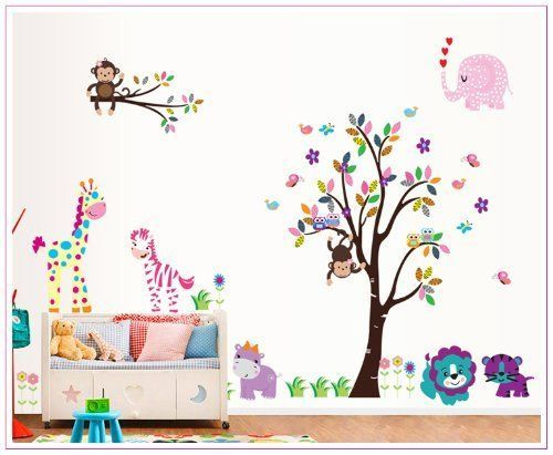 OneHouse Colorful Tree with Animals Elephant Giraffe Zebra Tiger DIY Huge Wall Sticker Decals *** You can get more details by clicking on the image.Note:It is affiliate link to Amazon.