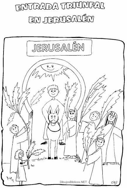 Entrada de Jesús a Jerusalen - Dibujos de la biblia | Angeles para ...