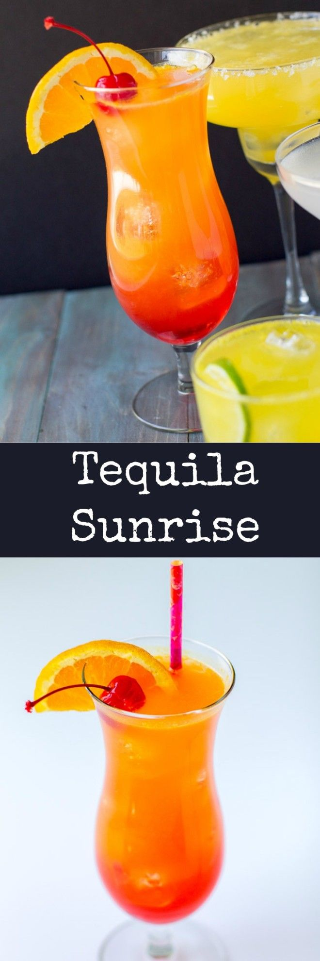 "A super fruity and colorful Tequila Sunrise cocktail with a splash of seltzer for sparkle! Leave it unmixed for a beautiful ""sunrise"" appearance."
