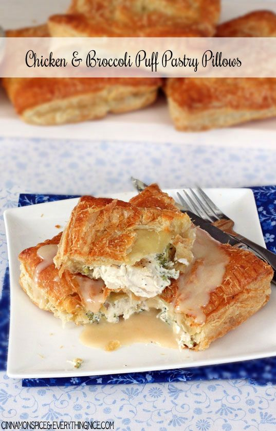 Chicken, Cream Cheese & Broccoli Puff Pastry Pillows* *Note for the sauce it says melt the butter then slowly add in the butter* they mean melt the butter then add the flour and cook it down.*