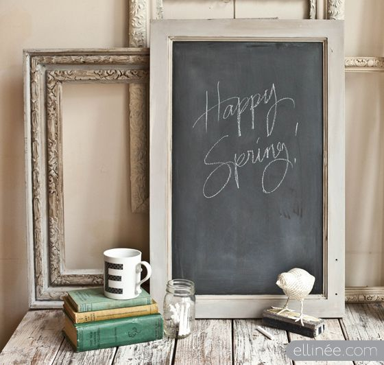 For the kitchen? How to make a chalkboard from an old cabinet door by Lia at Ellinee Design Studio.: Bathroom Design, Chic Chalkboards, Crafts Ideas, Chalkboards Paintings, Summer Parties, Cupboards Doors, Old Cabinets Doors, Shabby Chic Bathroom, Diy