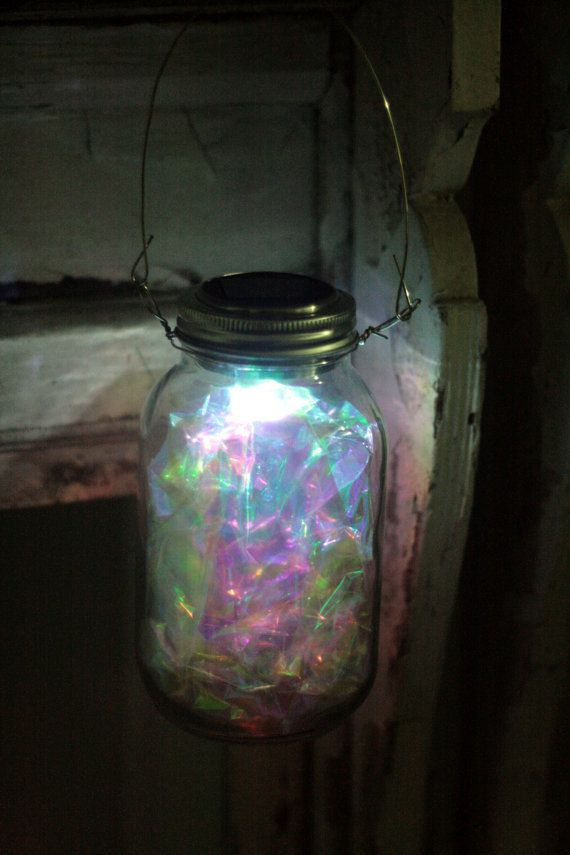 Large Hanging Silver Fairy Light Mason Jar By