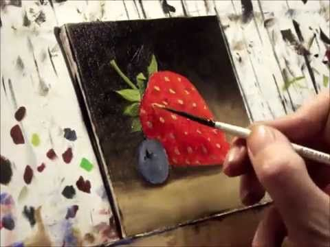 this is mesmerizing...i could watch people paint in fast motion all day. ▶ Strawberry and Blueberry Oil painting by Jane Palmer - YouTube