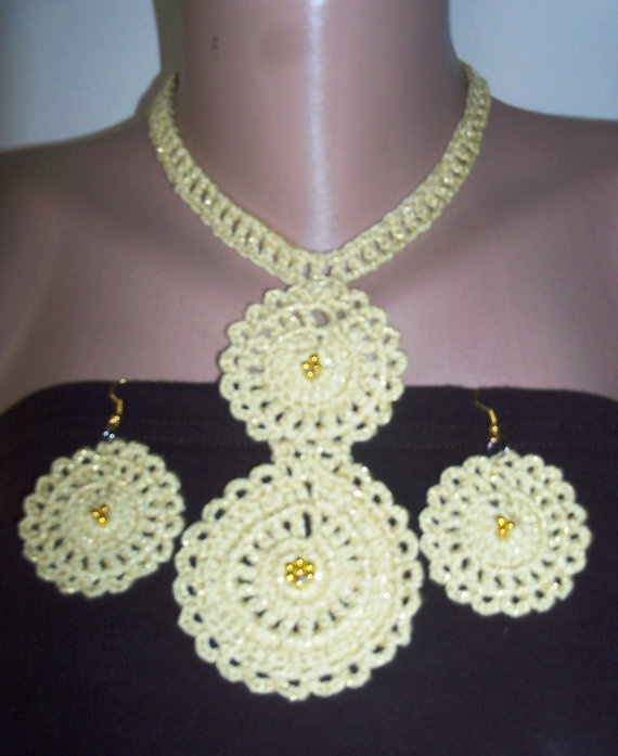 women's yellow necklace and wonderful earring by colourfulrose, $20.50