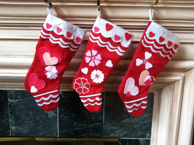 Valentine's Day! V-Day Stockings I bought left-over/sale Christmas stockings and revamped them for Valentine's Day. The kids will wake up to special treats, happy memories, new traditions and lots of love on Valentine's Day!