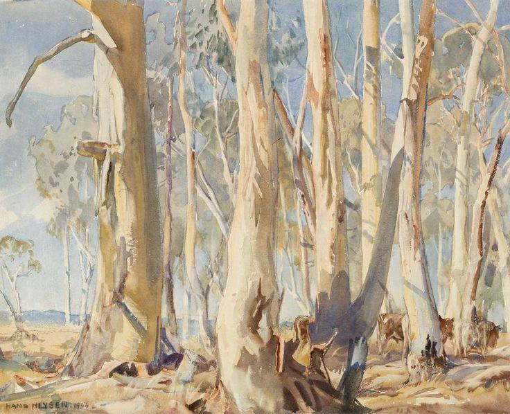 Hans Heysen (1877-1968) - White Gums, 1944