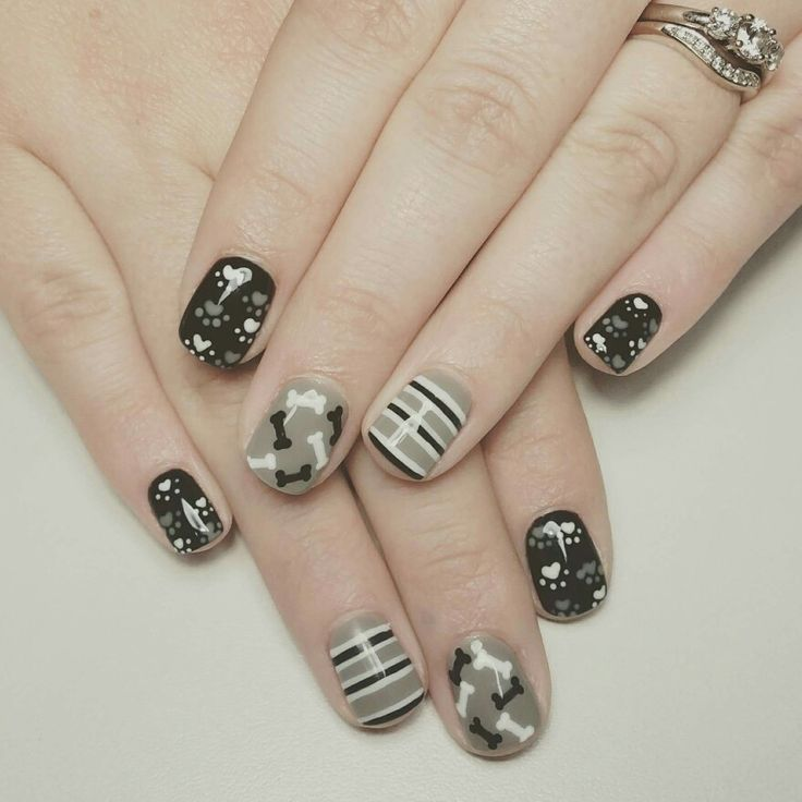 Doggy paws and bones nail art by Fabulous10