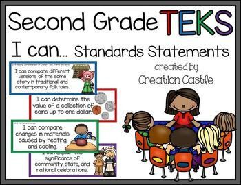 Second Grade TEKS*****************************************************************************Attention Texas teachers! Use this easy to prepare resource to post your daily or weekly TEKS and help students take ownership in their learning!What's Included?I have rewritten the TEKS standards in a more kid-friendly language.