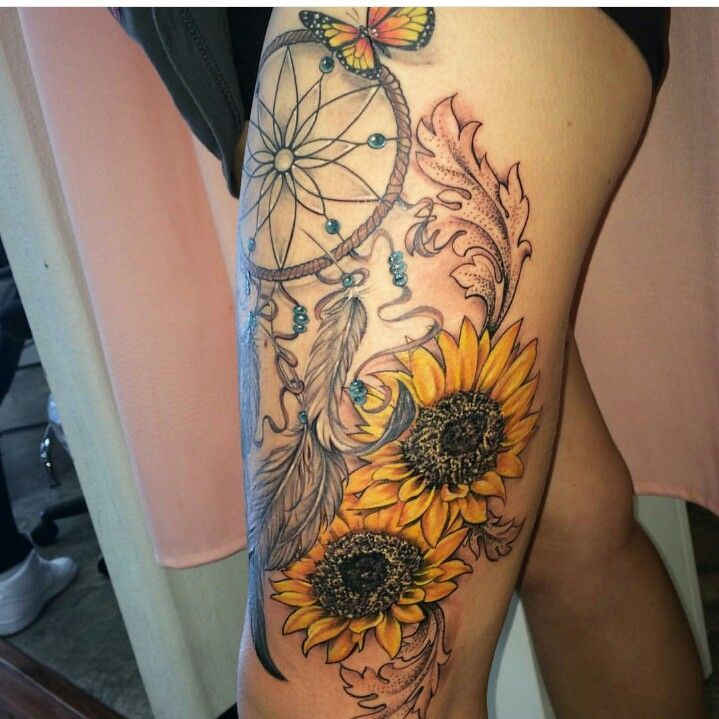 46 best ivy and sunflower tattoos images on pinterest for Sunflower tattoo thigh