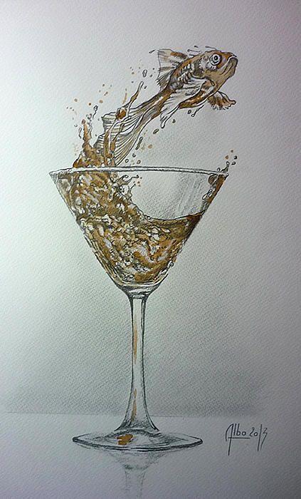 """"""" le verre du rouge """" dessin et vin rouge sur papier"""