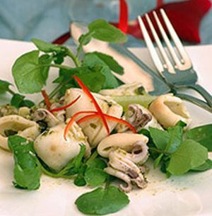 Thai Calamari Salad with Watercress recipe