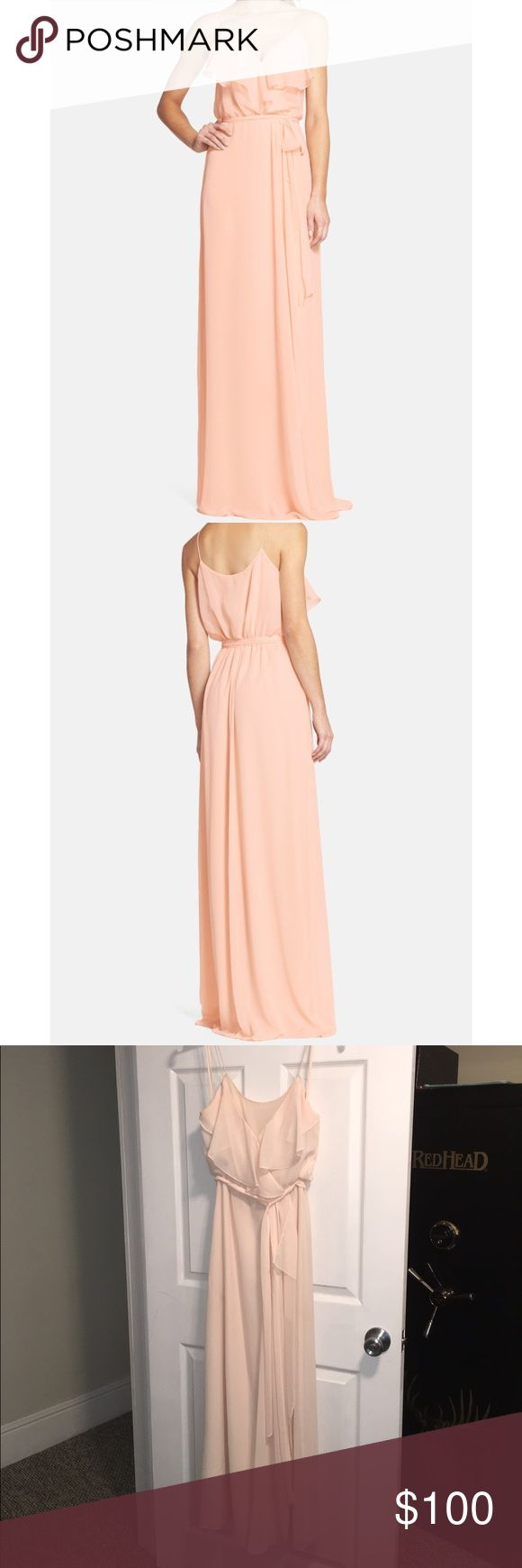 """Ruffle Front Chiffon Gown Soft and romantic, this blush-hued gown in silky chiffon flows gently from the spaghetti straps to a floor-grazing hem. The ruffled-overlay surplice bodice and wrap-style skirt flatter the figure, while a coordinating tie belt defines feminine curves. Dress was worn once for wedding, alteration only to bottom hem as I am 5""""2' and wore flat shoes. Includes: Deep V-neckline. Wrap-style column skirt. Fully lined. 100% polyester. Nordstrom Dresses Maxi"""