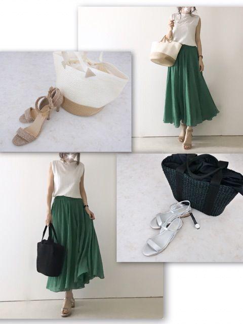 coordinateUNIQLOリブニットグリーンスカート
