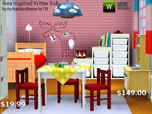 Decorating Ideas Ikea Lack Shelves ~ Ikea Inspired Kritters Kids Room by riccinumbers  Sims 3 Downloads CC