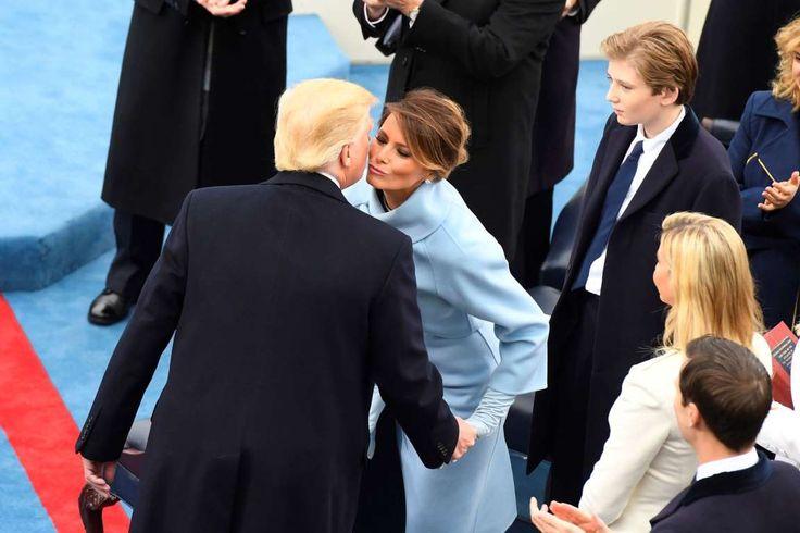 Jan 20, 2017; Washington, DC, USA; President-elect Donald Trump greets Melania Trump as Barron Trump... - Robert Deutsch/USA TODAY
