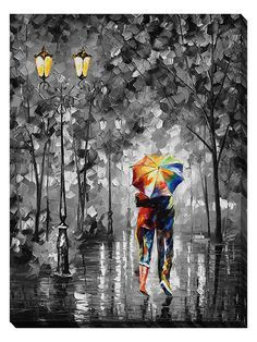 UNDER ONE UMBRELLA — PALETTE KNIFE Oil Painting On Canvas