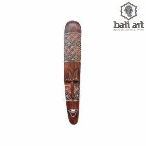 Máscara de parede primitiva  Bali madeira pintada a mão 100cm - Decoração Bali