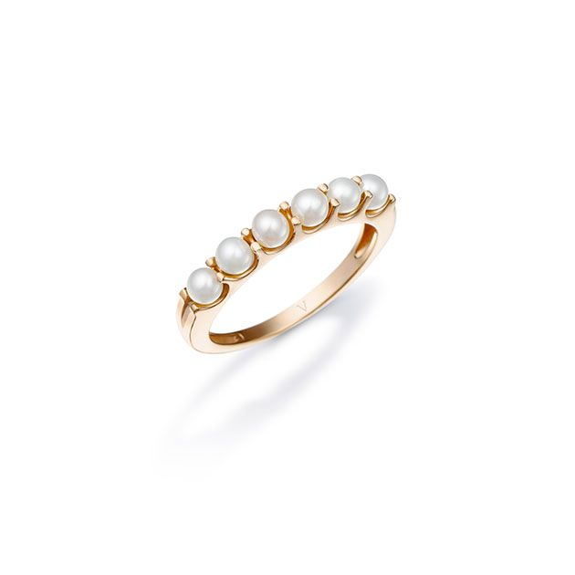 Anel romântico de ouro com pérolas! (R$ 2.590)