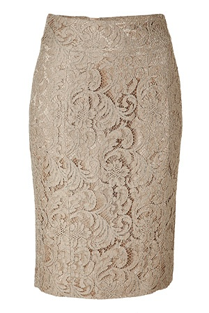Nude lace pencil skirt.