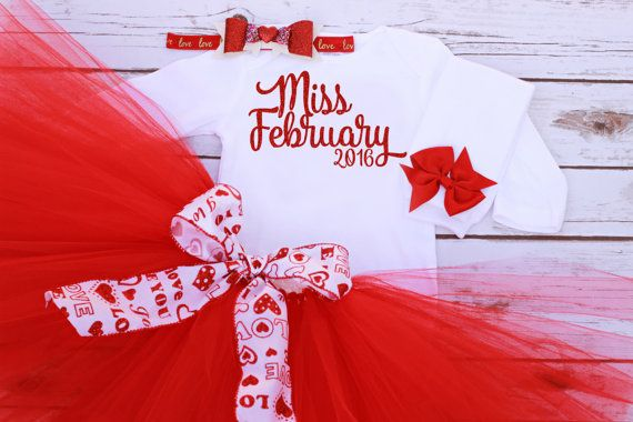 Baby Girl Red Miss February Birthday, Newborn, or Valentine's Day Outfit With Glitter Miss February 2016 Onesie, Tutu, Hair Bow & Legwarmers