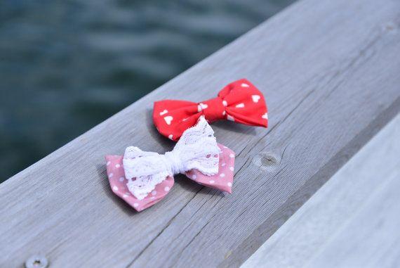 Katoen rood en roze boog clips. Childrens van nhlcards op Etsy