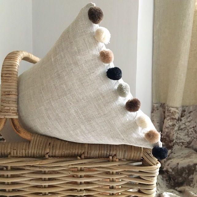 Cushion 100% Linen Oatmeal Stone with Natural Pom Pom Trim  £17.50
