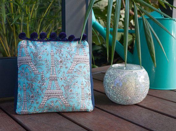 Blue Eiffel Tower Paris handmade fabric door stop by freshdarling
