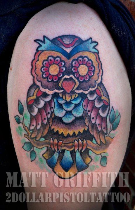 Tattoos By Matt Griffith @2 Dollar Pistol Tattoo Shop    www.facebook.com/... #owl #bird #matt griffith #2dollarpistoltattoo #667