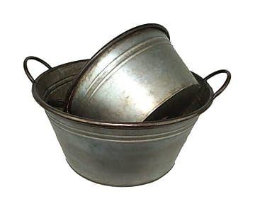 Набор из 2-х тазиков - цинк - серебряный