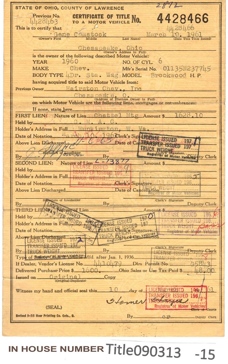 VINTAGE 1960 Chev 4dr. Station Wagon Brookwood H.P. Auto Title Only Historical Document from Ohio