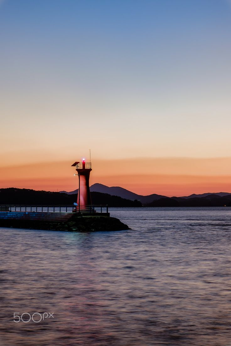 Lighthouse at sunset - 거제도 Geoje-island, Sunset