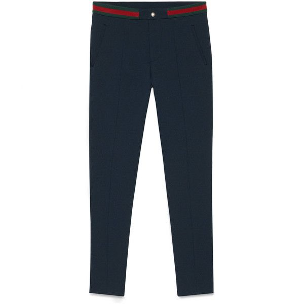 Gucci Felted Jersey Pant featuring polyvore, women's fashion, clothing, pants, capris, blue, pocket pants, blue pants, skinny trousers, skinny fit pants and cropped trousers