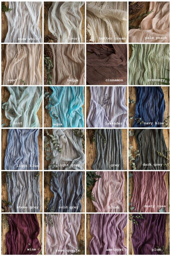 Gauze Runner COLOR SWATCHES Cheesecloth Table Hand Dyed Gauze