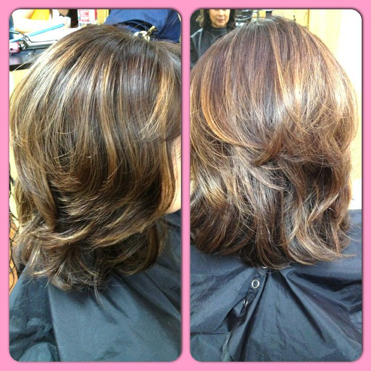 Shoulder Length Hair Cut with Short Round Layers! Texturizing as well!